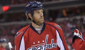 Washington Capitals center Brooks Laich (21) looks on during the first period of an NHL hockey game against the Minnesota Wild, Friday, Feb. 26, 2016, in Washington. (AP Photo/Nick Wass)