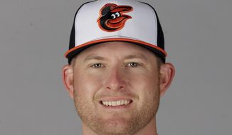 FILE - This 2016, file photo shows Mark Trumbo of the Baltimore Orioles. Most of the offseason news about the Baltimore Orioles has been about the retention of their own free agents. Nearly overlooked has been the December acquisition of slugger Mark Trumbo. (AP Photo/Chris O'Meara, File)