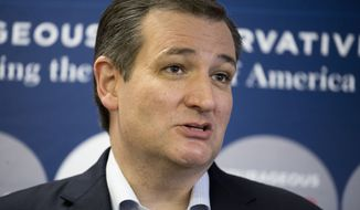 Republican presidential candidate Sen. Ted Cruz, R-Texas, speaks to members of the media before a campaign appearance, Monday, Feb. 29, 2016, in San Antonio. (AP Photo/Darren Abate)