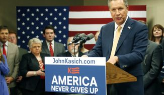 Republican presidential candidate Ohio Gov. John Kasich, speaks about his Super Tuesday primary results following  a Central Mississippi Republican Party fund raising dinner in Jackson, Miss., Tuesday, March 1, 2016. (AP Photo/Rogelio V. Solis)