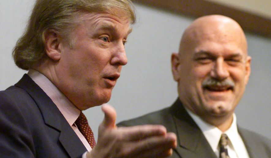 """FILE - In this Jan. 7, 2007, file photo, potential Reform Party presidential candidate Donald Trump, left, speaks at a news conference in Minneapolis with Gov. Jesse Ventura. Well before Donald Trump was leading the race for the 2016 Republican presidential nomination, there was Ventura, the former professional wrestler, radio talk show host and suburban mayor who, in his own election-night words, """"shocked the world"""" with his improbable 1998 victory. (AP Photo/Richard Drew, File)"""
