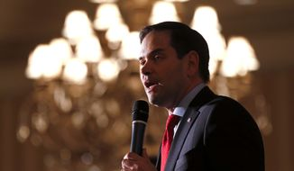 Republican presidential candidate, Sen. Marco Rubio, R-Fla., speaks at a campaign rally in Shelby Township, Mich., Wednesday, March 2, 2016. (AP Photo/Paul Sancya)