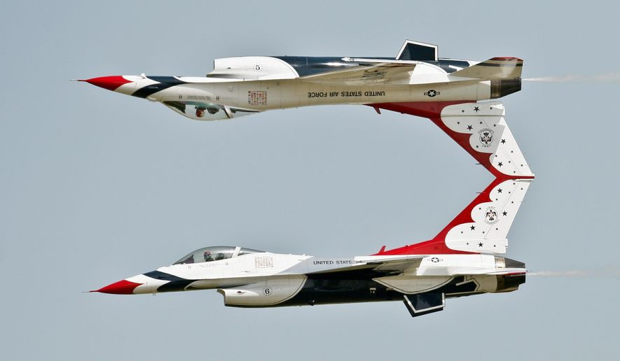 All eight current Thunderbird pilots are white males. Of the eight, six fly the demonstrations, one flies as the lead and narrator, and one is the operations officer. They fly on the team for two years, and three of the six demonstration fliers are replaced annually. (Associated Press)