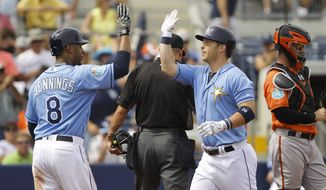 Tampa Bay Rays' Desmond Jennings (8) high fives teammate Corey Dickerson (10) after scoring on Dickerson's two-run home run in the second inning of an exhibition spring training baseball game against the Baltimore Orioles, Thursday, March 3, 2016, in Port Charlotte, Fla. (Will Vragovic/The Tampa Bay Times via AP)  TAMPA OUT; CITRUS COUNTY OUT; PORT CHARLOTTE OUT; BROOKSVILLE HERNANDO TODAY OUT; MANDATORY CREDIT