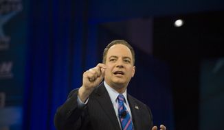 Republican National Committee Chairman Reince Priebus responds to a question from Fox News Channel's Sean Hannity, on the second day of the American Conservative Union CPAC 2016 at the Gaylord National Resort and Convention Center in National Harbor, Md., Friday, March 4, 2016. (Photo Rod Lamkey Jr.)