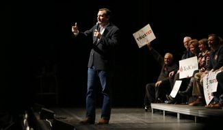 Republican presidential candidate Sen.Ted Cruz speaks at a campaign stop Friday, March 4, 2016, at the University of Maine in Orono, Maine.(AP Photo/Robert F. Bukaty)