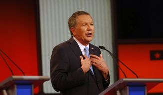 Republican presidential candidate, Ohio Gov. John Kasich speaks during a Republican presidential primary debate at Fox Theatre, Thursday, March 3, 2016, in Detroit. (AP Photo/Paul Sancya)