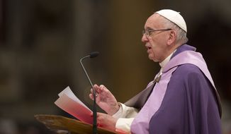 Pope Francis speaks as he leads a Penitential liturgy in St. Peter's Basilica at the Vatican, Friday, March 4, 2016. (AP Photo/Alessandra Tarantino)