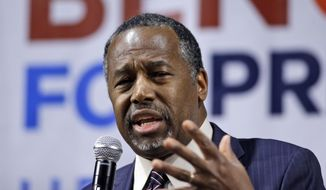 In this Feb. 21, 2016, file photo, Republican presidential candidate Ben Carson speaks during a town hall meeting in Reno, Nev. (AP Photo/Marcio Jose Sanchez, File)