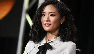"In this Jan. 14, 2015, file photo, Constance Wu speaks on stage during the ""Fresh Off the Boat"" panel at the Disney/ABC Television Group 2015 Winter TCA in Pasadena, Calif. (Photo by Richard Shotwell/Invision/AP, File)"