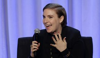 "In this Tuesday, Feb. 2, 2016, photo, writer and actress Lena Dunham speaks during a panel entitled ""Media with Purpose"" at the American Magazine Media 360 Conference in New York. Spokeswoman Cindi Berger said in a statement that Dunham had been taken to an undisclosed hospital Saturday, March 5. (AP Photo/Seth Wenig)"