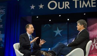 The backlash is so severe that despite strategists plotting to try to orchestrate a contested convention, Republican National Committee Chairman Reince Priebus (left) took to the stage of the Conservative Political Action Conference to insist it won't happen. (Rod Lamkey Jr./Special to the Washington Times)