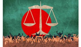 Popularity of the Bangladesh International Crimes Tribunals Illustration by Greg Groesch/The Washington Times