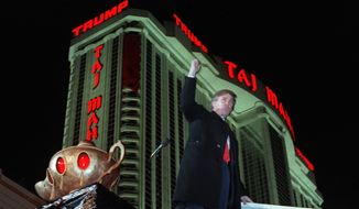 Back in the summer of 1990, Donald Trump was hustling to keep the Taj Mahal afloat and juggling roughly $3 billion in debt to banks and junk bond holders. (Associated Press)