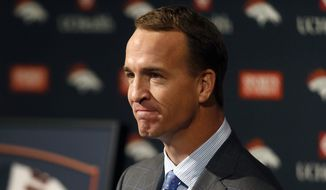 Denver Broncos quarterback Peyton Manning speaks during a news conference where he announced his retirement from professional football, in Englewood, Colo., Monday, March 7, 2016. Manning finished a record-breaking 18 year career by leading the Broncos to the team's Super Bowl 50 victory over the Carolina Panthers. (AP Photo/David Zalubowski) ** FILE **