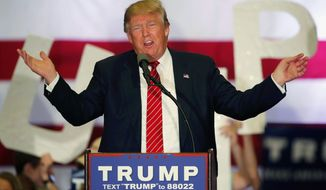 In this March 4, 2016 file, photo, Republican presidential candidate Donald Trump speaks at a campaign rally in New Orleans. (AP Photo/Gerald Herbert, File)