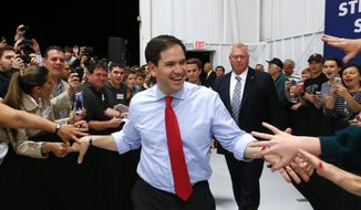 Republican presidential candidate, Sen. Marco Rubio, R-Fla., arrives at a campaign rally in Sanford, Fla., Monday, March 7, 2016. (AP Photo/Paul Sancya) ** FILE **