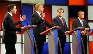 In this Feb. 25, 2016, file photo, Republican presidential candidates, from left, Sen. Marco Rubio, R-Fla., Donald Trump, Sen. Ted Cruz, R-Texas, and Ohio Gov. John Kasich debate take part in the Republican presidential primary debate at the University of Houston in Houston. (AP Photo/David J. Phillip, File)