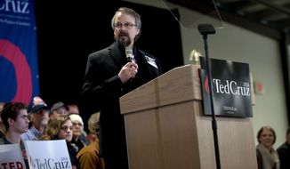 In a Saturday, March 5, 2016 photo, Coeur d'Alene pastor Tim Remington leads the prayer, during the rally for Republican presidential hopeful Ted Cruz at the Kootenai County Fairgrounds in Coeur d'Alene, Idaho. He was shot six times March 6 as he was leaving the Altar Church after Sunday services. (Kathy Plonka / The Spokesman-Review, via AP) ** FILE **