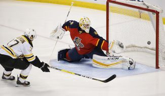 Boston Bruins center Patrice Bergeron (37) scores against Florida Panthers goalie Roberto Luongo (1) during the first period of an NHL hockey game, Monday, March 7, 2016 in Sunrise, Fla. (AP Photo/Wilfredo Lee)