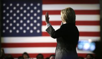 Democratic presidential candidate, Hillary Clinton speaks during a rally at the Charles H. Wright Museum of African American History, Monday, March 7, 2016, in Detroit, Mich. (AP Photo/Charlie Neibergall)