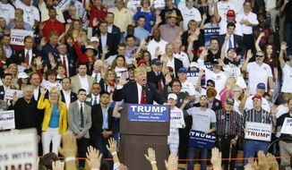 In this March 5, 2016, file photo, Republican presidential candidate Donald Trump speaks to the crowd asking them to take a pledge to promise to vote for him during a campaign rally, in Orlando, Fla. (AP Photo/Brynn Anderson, File)