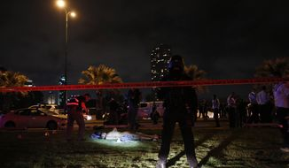 The body of a Palestinian attacker is illuminated in Tel Aviv Tuesday March 8, 2016. The man have stabbed a number of civilians in Jaffa before he was shot and killed by the police. (AP Photo/David Bachar) ****ISRAEL OUT***