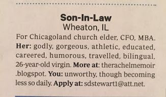 "Christianity Today magazine has issued an apology after a father's classified ad for his 26-year-old ""virgin"" daughter ran in its March issue. (Christianity Today via therachelmemoir.blogspot.com)"
