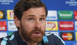 Zenit's head coach Andre Villas-Boas speaks during a news conference on the eve of the Champions League Round of 16 second leg soccer match between Benfica and Zenit St. Petersburg in St. Petersburg, Russia, Tuesday, March 8, 2016. (AP Photo/Dmitri Lovetsky)