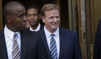 NFL Commissioner Roger Goodell leaves federal court, Wednesday, Aug. 12, 2015, in New York, after a full day of talks with a federal judge in the dispute over a four-game suspension with New England Patriots quarterback Tom Brady.(AP Photo/Mary Altaffer)
