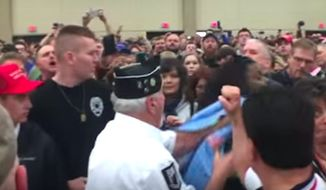 Al Bamberger, 75, is seen in a viral video shoving Black Lives Matter protester Shiya Nwanguma at a Donald Trump rally in Louisville on March 1, 2016. (Image: YouTube)