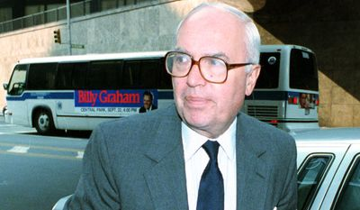 John H. Gutfreund, chairman and chief executive officer of Salomon Brothers Inc., arrives for an emergency board meeting at company offices in downtown Manhattan on Aug. 18, 1991. (Associated Press)