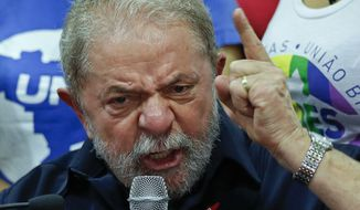 Brazil's former President Luiz Inacio Lula da Silva speaks during a press conference at the Workers Party headquarters in Sao Paulo, Brazil, on March 4, 2016. (Associated Press)