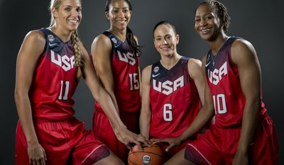 Basketball players, from left, Elena Delle Donne, Candace Parker, Sue Bird and Tamika Catchings pose for photo at the 2016 Team USA Media Summit Wednesday, March 9, 2016, in Beverly Hills, Calif. (AP Photo/Damian Dovarganes)