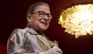 Supreme Court Justice Ruth Bader Ginsburg attends the 2015 Kennedy Center Honors in Washington in this Dec. 6, 2015, file photo. (AP Photo/Jacquelyn Martin, File)