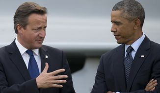 FILE - This is a Friday, Sept. 5, 2014 file photo of U.S. President Barack Obama, right, as he speaks with British Prime Minister David Cameron during a flypast at the NATO summit at the Celtic Manor Resort in Newport, Wales. The British press on Friday March 11, 2016 has accused President Obama of launching a verbal attack on Prime Minister David Cameron. Obama's comments in a magazine interview were called 'unprecedented' and 'extraordinary.' The hubbub has pushed the White House into damage control mode and US officials issued a statement asserting close ties between the leaders. (AP Photo/Jon Super, File)