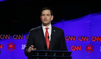 Republican presidential candidate, Sen. Marco Rubio, R-Fla., speaks during the Republican presidential debate sponsored by CNN, Salem Media Group and The Washington Times at the University of Miami, Thursday, March 10, 2016, in Coral Gables, Fla. (AP Photo/Wilfredo Lee)