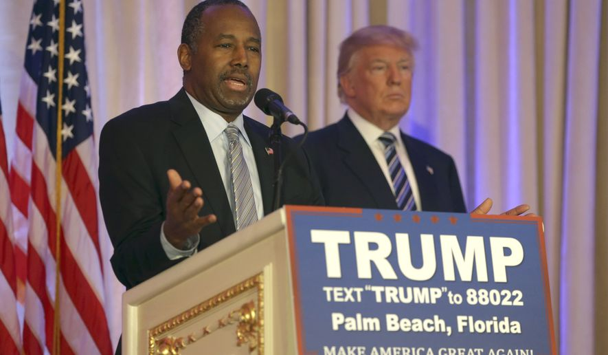 Former Republican presidential candidate Ben Carson speaks after announcing he will endorse Republican presidential candidate Donald Trump during a news conference at the Mar-A-Lago Club in Palm Beach, Fla., on March 11, 2016. (Associated Press) **FILE**