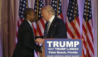 Former Republican presidential candidate Ben Carson, left, embraces Republican presidential candidate Donald Trump, after announcing he will endorse  Trump during a news conference at the Mar-A-Lago Club, Friday, March 11, 2016, in Palm Beach, Fla. (AP Photo/Lynne Sladky)