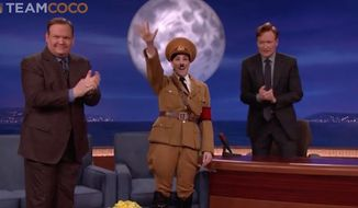 "Comedian Sarah Silverman impersonated Adolf Hitler Thursday night on ""Conan,"" saying the recent comparisons to Republican presidential front-runner Donald Trump really ""bums"" him out. (TBS)"