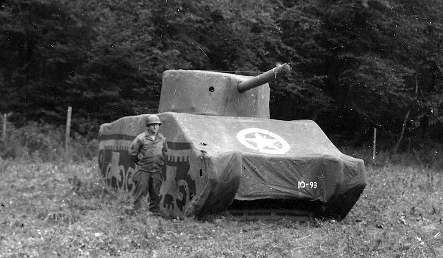 The Ghost Army used cleverly crafted dummy tanks like this one to deceive German troops during World War II  (U.S. Archives)