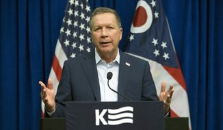 Republican presidential candidate, Ohio Gov. John Kasich speaks during a news conference at the Northeast Hamilton County Republican Club pancake breakfast, Saturday, March 12, 2016, in Cincinnati. (AP Photo/John Minchillo)