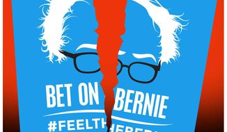 Illustration on the Bernie Sanders campaign by Alexander Hunter/The Washington Times