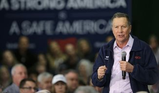 Republican presidential candidate, Ohio Gov. John Kasich speaks during a town hall meeting at the Ehrnfelt Recreation Center, Sunday, March 13, 2016, in Strongsville, Ohio. (AP Photo/Tony Dejak)