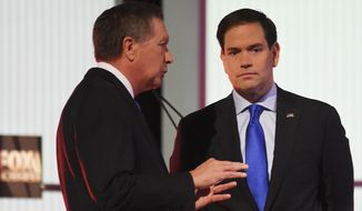 Sen. Marco Rubio's campaign has explicitly urged its supporters to back Gov. John Kasich in Ohio. Mr. Kasich has declined to do the same for Mr. Rubio in Florida, but he's stayed out of that state anyway, leaving the path clear for Mr. Rubio to maximize votes there. (Associated Press)