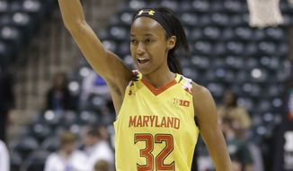 Maryland guard Shatori Walker-Kimbrough (32) celebrates in the second half of an NCAA college basketball game against Michigan State in the finals of the Big Ten Conference tournament in Indianapolis, Sunday, March 6, 2016. Maryland defeated Michigan State 60-44. (AP Photo/Michael Conroy)