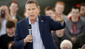 Republican presidential candidate, Ohio Gov. John Kasich speaks during a campaign stop on Monday, March 14, 2016, at the MAPS Air Museum in North Canton, Ohio. (AP Photo/Matt Rourke)