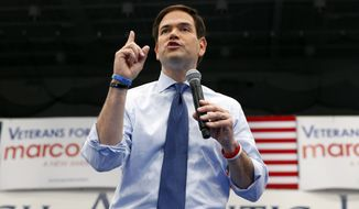 Sen. Marco Rubio speaks Monday during a campaign rally at Palm Beach Atlantic University in West Palm Beach, Fla., Monday, March 14, 2016. (AP Photo/Paul Sancya) ** FILE **