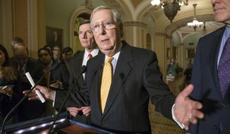 "Senate Majority Leader Mitch McConnell, R-Ky., flanked by Sen. John Barrasso, R-Wyo., left, and Majority Whip John Cornyn, R-Texas, right, talks to reporters following a closed-door policy meeting at the Capitol in Washington, Tuesday, March 15, 2016.  Sen. McConnell said he spoke to Republican presidential front-runner Donald Trump on Tuesday and asked him to condemn violence no matter who is responsible. ""I took the opportunity to recommend to him that no matter who may be triggering these violent expressions or conflicts that we have been seeing at some of these rallies, it might be a good idea to condemn that and discourage it no matter what the source of it is,"" McConnell said.  (AP Photo/J. Scott Applewhite)"