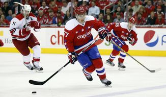 Washington Capitals right wing T.J. Oshie (77) skates with the puck in the third period of an NHL hockey game against the Carolina Hurricanes, Tuesday, March 15, 2016, in Washington. The Capitals won 2-1 in overtime. (AP Photo/Alex Brandon)